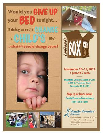 Family Promise of Sarasota Cardboard City Flyer