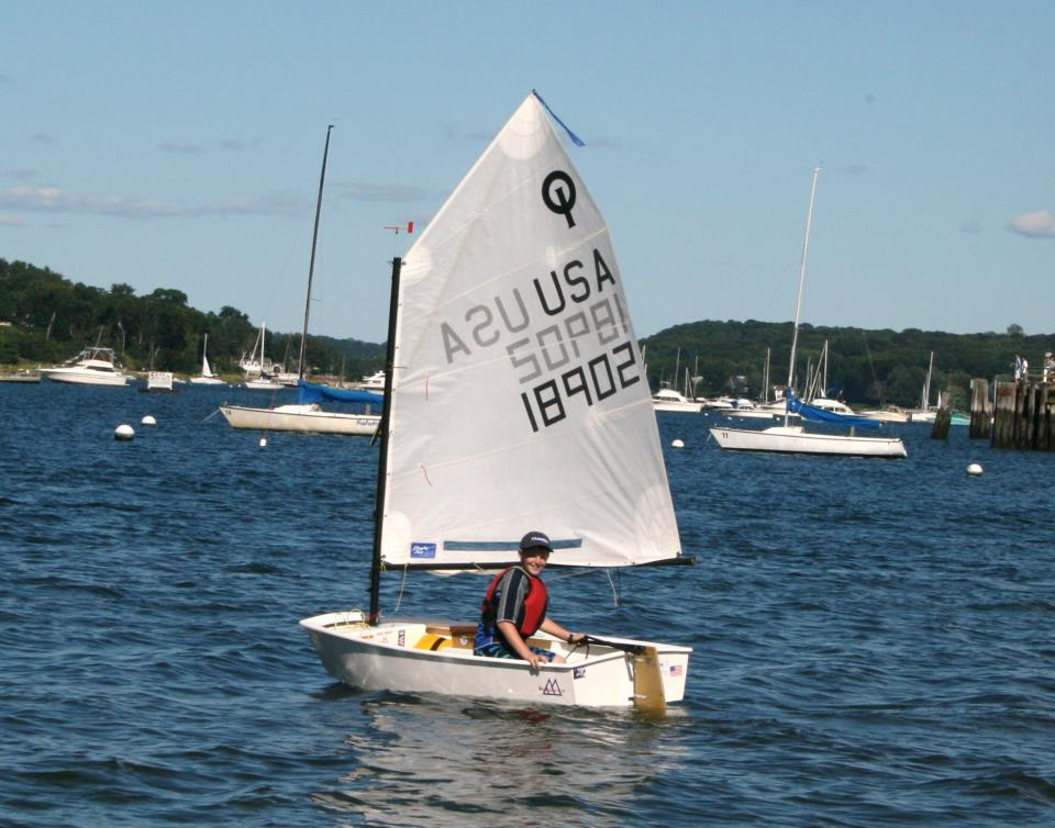 Justin Smith, 12, sailing his Opti
