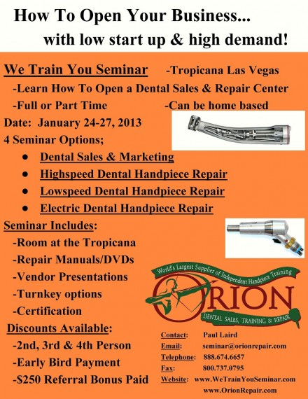 We Train You to Repair Electric Dental Handpieces
