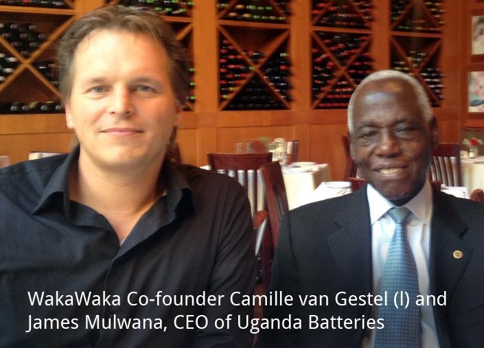 Camille and Mr. Mulwana of Uganda Battery