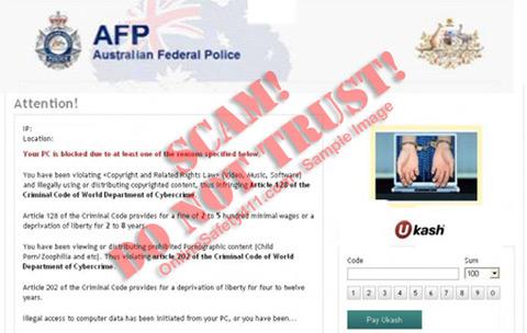 Australian Federal Police AFP Ukash Virus