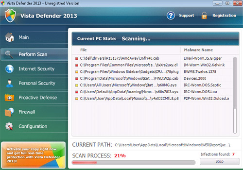 Vista Defender 2013 fake antivirus interface main menu screen shot