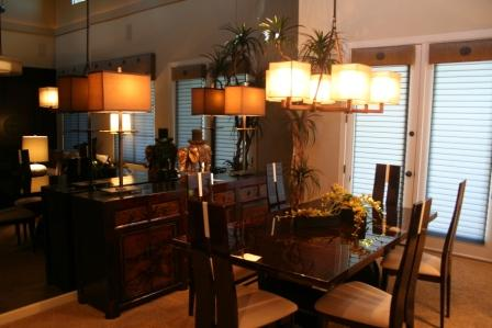 Dining Room with Antique Chest and Smoked Glass Mirror