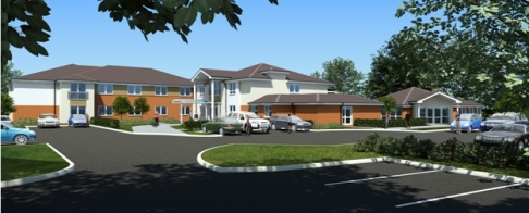 Artist's impression of the new care home at Aster Road in Chantry, Suffolk.
