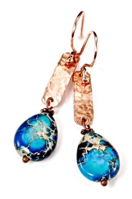 Aqua Terra Jasper and Hammered Copper Earrings