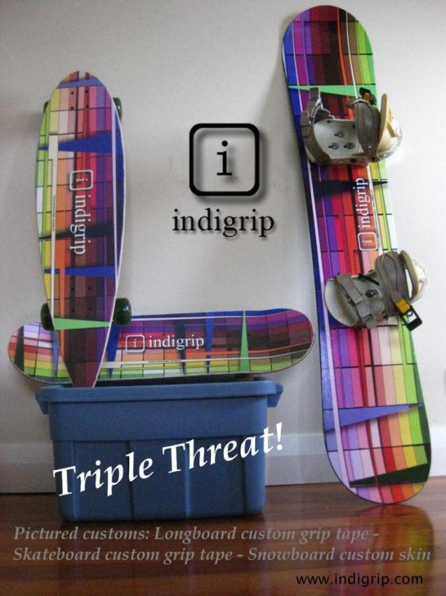 Indigrip snowboard, longboard and skateboard customizations