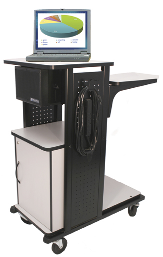 The AmpliVox Mity Box Speaker can be integrated easily into presentation carts.