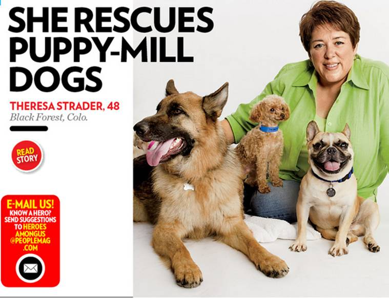 Theresa with Rescued Dogs