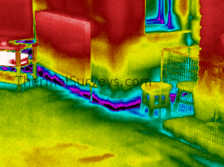 Thermal imaging air infiltration floor
