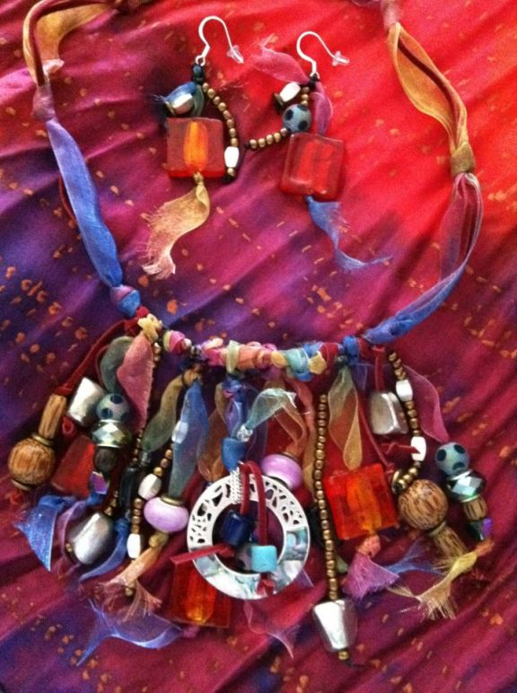 Ada Madison Hand Painted Silk Scarf and Necklace Set!