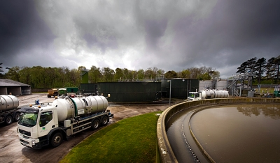 Welsh Water tanker at processing plant