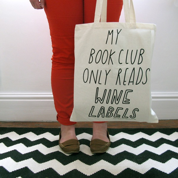 Book (Wine) Club Tote Bag
