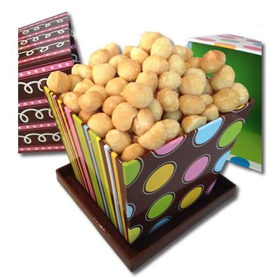 Roasted Whole Macadamias - Chocolate Dots Angle BasketBox