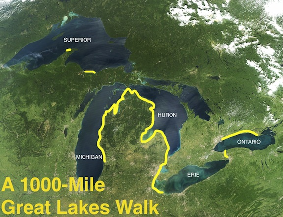 Approximate route of Niewenhuis's 1000-Mile Great Lakes Walk