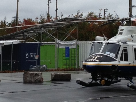 Beautiful Energy Charging Station beside NYPD Rescue Helicopter after Sandy