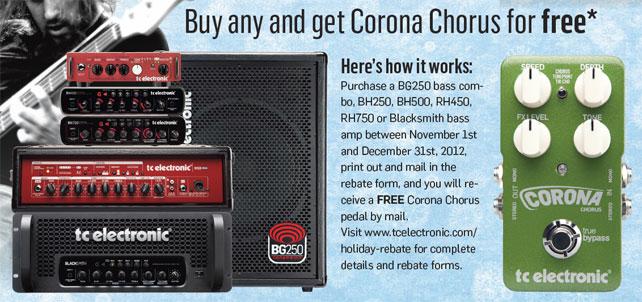 Free TC Electronic Corona Chorus Pedal with selected TC Electronic Bass Amps