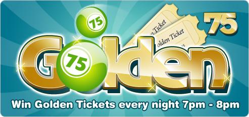 Win a golden ticket in Bingocams 75 ball bingo rooms