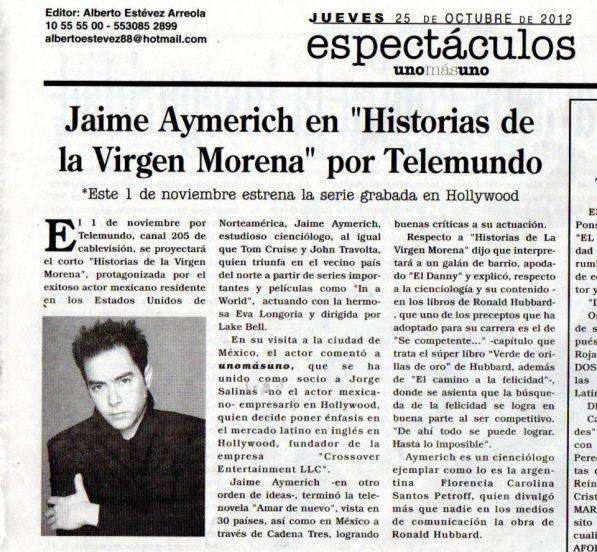 Jaime Aymerich Diario Uno mas Uno Espectaculos  Oct 25 por Alberto Esteves Arr