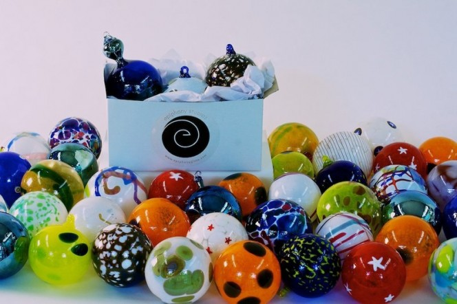 Blown glass ornaments by epiphany glass benefit HAVEN this holiday season