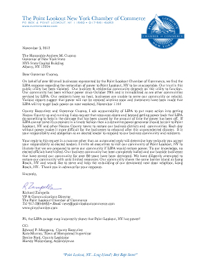 Appeal Letter to Governor Cuomo by The Point Lookout Chamber of Commerce
