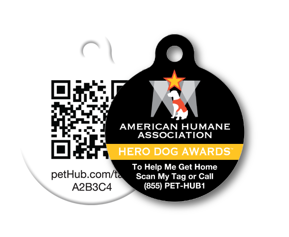 PetHub digital ID tag designed for and worn by the 2012 AHA award nominees
