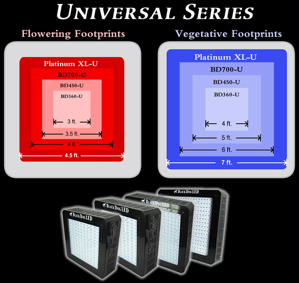 Black Dog LED Universal Series with Veg and Flower Footprint Diagram