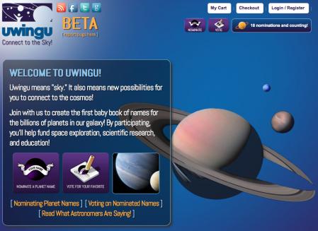 Uwingu's Web Site Landing Page