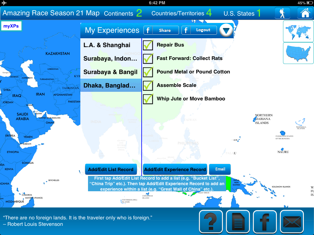 Travel Goal Getter iPad App Bucket-List Feature