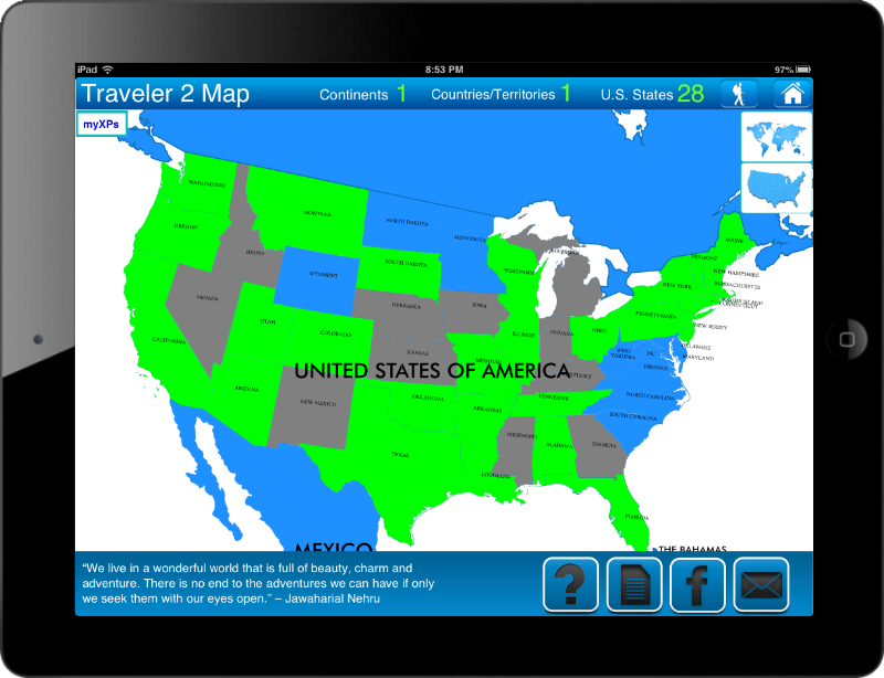 Travel Goal Getter iPad App US Map