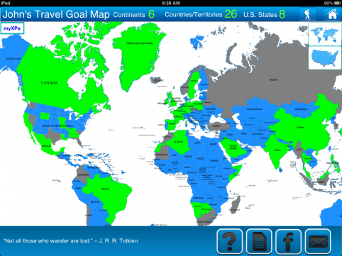 Travel Goal Getter iPad App World Map