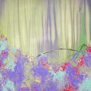 """""""Water Marks on Lavender & Blue Green,""""  48x48"""