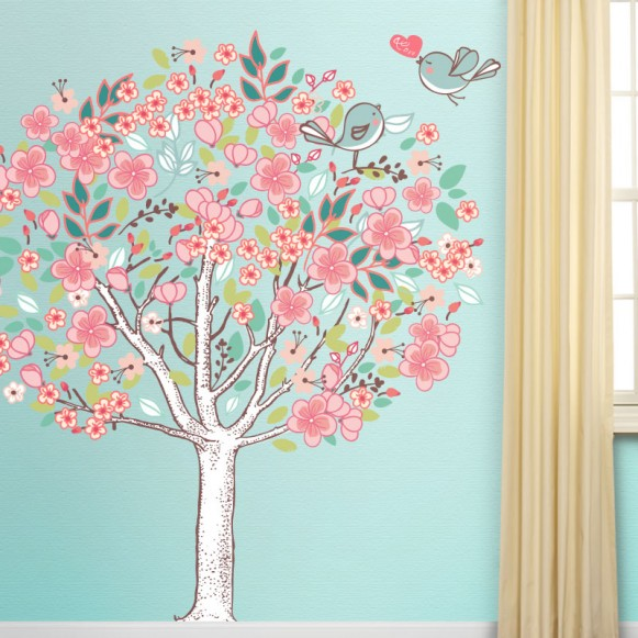 Spring Love Tree Mural by My Wonderful Walls