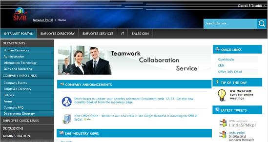 Intranet screen shot