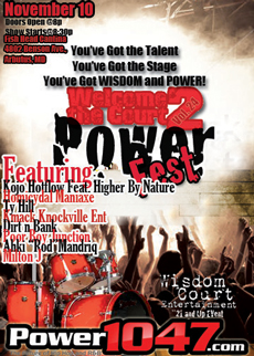 November 2012 Power Fest Flyer and Performers List
