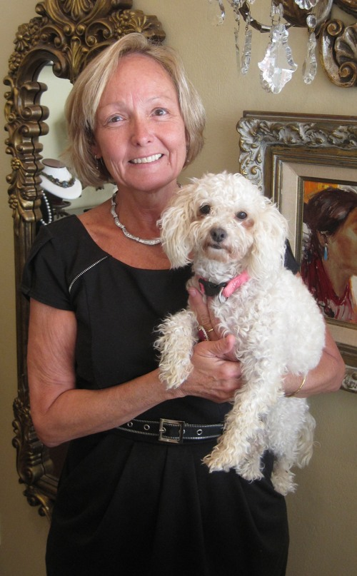 Rancho Santa Fe Estate and Fine Jewelry owner Coleen Freeman with 'Sophie'