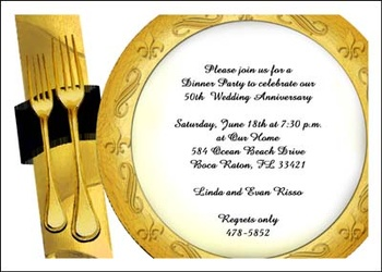 Golden 50th Wedding Anniversary Invitation Stationery