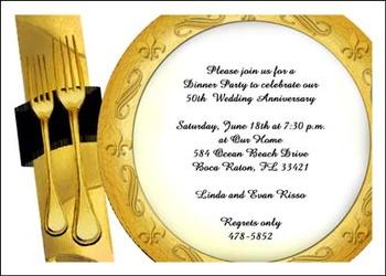 Golden 50th Wedding Anniversary Invitation Stationery
