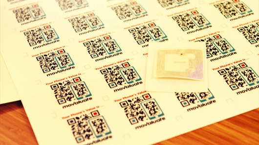 Movaluate's QR recognition stickers