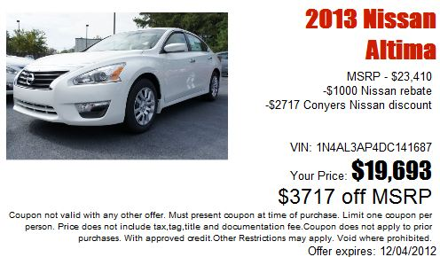 2013 Altima at Conyers Nissan, GA