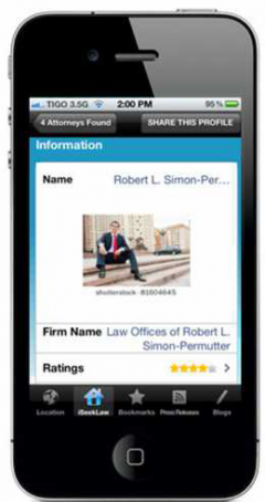 iSeekLaw sample lawyer page