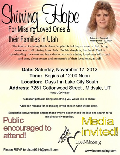 Shining Hope for Utah Families of Missing - Sat No
