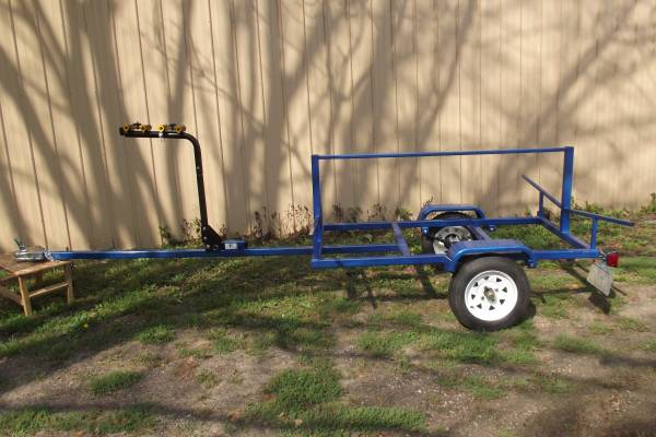 Candy Blue Kayak trailer with bike rack