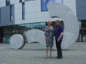Maizie Mears-Owen and Anne Johnston outside the university building.