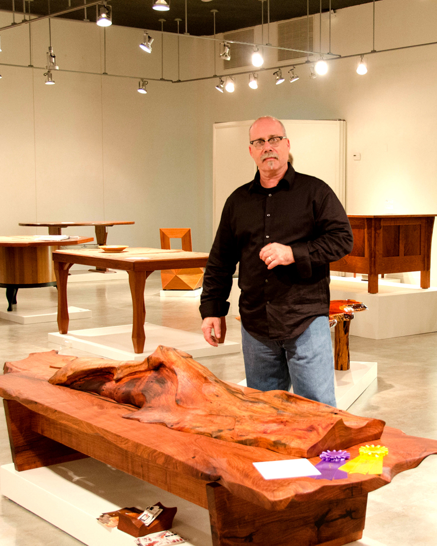 "Lou Quallenberg with ""Drift"" Mesquite Coffee Table"