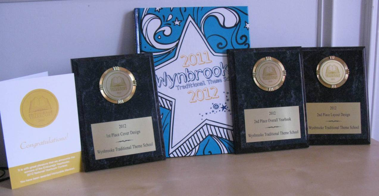 Wynbrooke Elementary Yearbook displayed with awards.