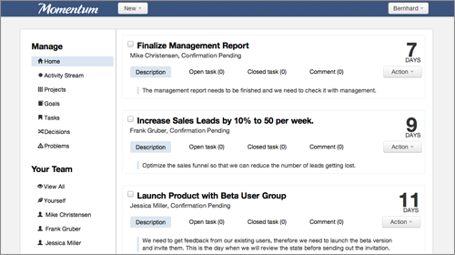 Momentum User Interface: Overview Page