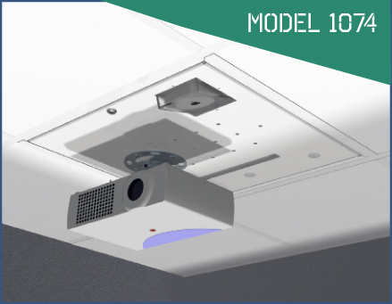 Oberon Model 1074 mounts networking equipment & most universal projector mounts.