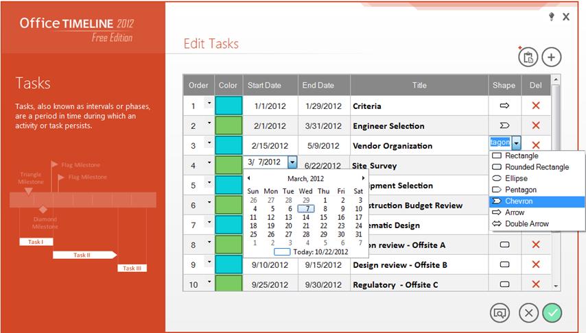 Office Timeline 2012 Free: Task Wizard