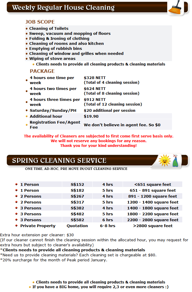 E Home Services Spring Cleaning Rates 2012 Finally Out