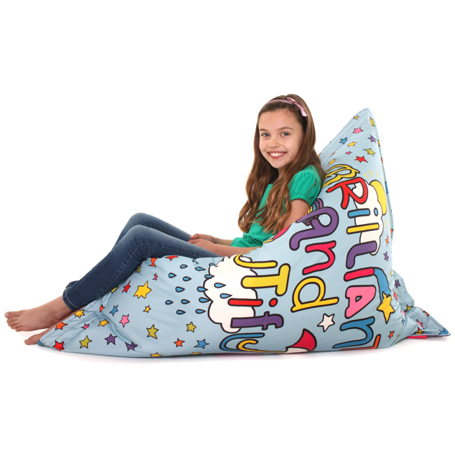 """Tracy Beaker """"Brilliant and Beautiful"""" Kids Baz Bag - 4 ways to sit on it!"""